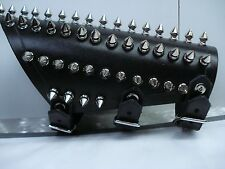 LEATHER SPIKED OLD SCHOOL GAUNTLET.BLACK METAL...(MDLG0031).....MORBOSIDAD