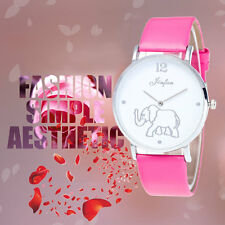 PU Leather Watchband Fashion Ladies Elephant Pattern On Dial Quartz Watch SM