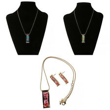 Fashion Bright Color Rectangle Enamel Pendant Necklace Earring Jewelry Set