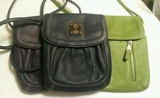 Tignanello Cross Body Small Bag Purse Handbag Pebbled Leather Blue Green Purple