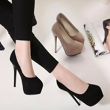 Simple Platform Shallow High Heel Pump Solid Stiletto Party Work OL Womens Shoes