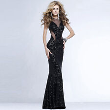 Womens Sexy Formal Paillette Ball Prom Gown Evening Cocktail Party Long Dresses