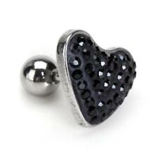 Crystal Heart Stainless Steel Body Ear Lip Nose Navel Labret Stud Pin Bar