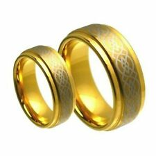 His & Her's 8MM/6MM Gold Tungsten Carbide Celtic Knot Wedding Band Ring set
