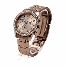 Luxury Women Stainless Steel Crystal Quartz Analog Sport Wrist Watch Jewelry