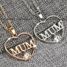 MUM Silver & Rose Gold Necklace Heart - Gift For Her Christmas Present Jewellery
