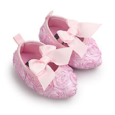 Newborn Baby Girls Crib Shoes Party Wedding Lace Flowers Bow Infant Soft  Crib