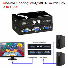 2 Port SVGA VGA Monitor Sharing Switch Box Video Switcher 2 In 1 Out For LCD PC