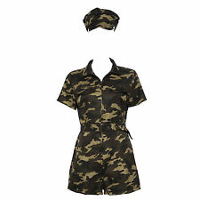 Ladies Army Girl Soldier Fancy Dress Costume Women Military Camo Uniform