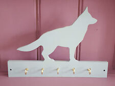 Shabby Chic German Shepherd Alsatian Dog Wooden Lead Collar Key Rack Hooks