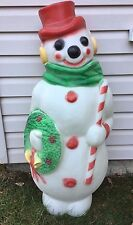 """Vintage Empire 47"""" Christmas Snowman Wreath Candy Cane Lighted Blow Mold"""