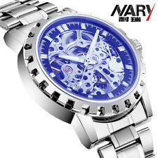 Men Transparent Skeleton Mechanical Stainless Steel Watch Automatic Wrist Watch