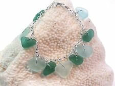 Genuine sea glass in teal and sea foam charms bracelet and 925. sterling silver