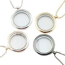 Living Memory Glass Round Locket Charms Pendant Necklace  SN