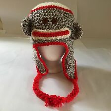 Sock Monkey Hat Crochet Beanie Handmade Baby Toddler Child Teen NEW Halloween