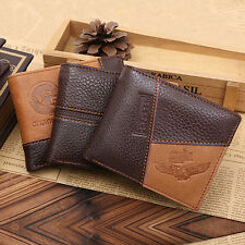 Men Coffee Full-Grain Leather Bifold Wallet Credit Card Holder Purse Remarkable