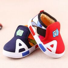 Toddler Baby Boys Casual Flat Pump Canvas Boots Shoes Winter Warm Infant Size