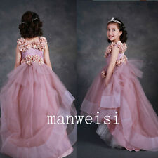 Hi-Lo Flower Girl Dresses Princess Party Pageant Roses Wedding Bridesmaids Gowns