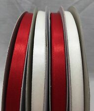 """Nylon Double Face Satin Craft Ribbon 3/8"""" Width 100 YDS White #029 or Red #250"""