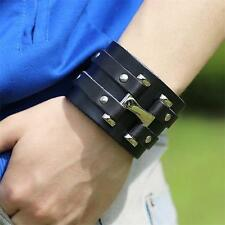 Newest Punk Cool Mens Wide Genuine Leather Belt Bracelet Cuff Wristband Bangle