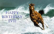 Novelty PERSONALISED Brown Horse Running in Sea A4 Icing Cake Topper Birthday