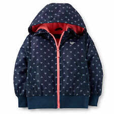 NWT Carters Baby Toddler Girl Fleece-Lined Midweight Printed Jacket Coat Navy