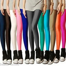 Women Neon Shiny Slim Fluorescent Glow Stretchy Leggings Pants Trousers Spring