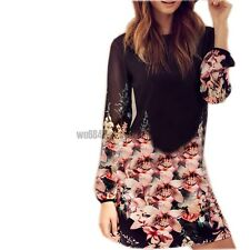 Womens Long Sleeve Printed Floral Casual Mini Tunic Chiffon Dress