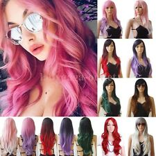 Pastel Synthetic Hair Wigs Long Wavy Curly Full Wig Women Cosplay Fashion Dress