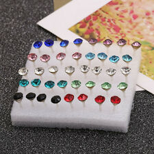 New 20 Pairs Pretty Crystal Rhinestone Round Earrings Ear Studs Allergy Free Pin