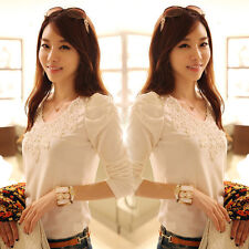 Graceful Women Long Sleeve Soft Lace Casual T-Shirts Cotton Tops Blouse Gift