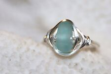 genuine aqua blue sea glass ring surf tumbled wire rapped sterling silver ring
