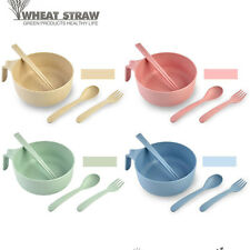 4 in 1 Health Wheat Straw Bowl Fork Spoon Chopsticks Set Anti-hot Cutlery Set