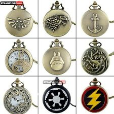 Classic Vintage Pocket Watch Retro Steampunk Quartz Necklace Chain Pendant Gift