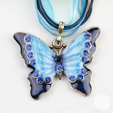 Fashion Long Heavy Rhinestone Butterfly Pendent Necklace 6 Colors Sweater Chain