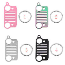 Cut 304 Stainless Steel Front Grille Key Chain Keyring for Jeep Wrangler, CJ