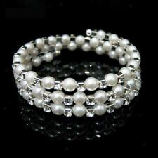 Wedding Bridal Clear Pearl Crystal Rhinestone Stretch Elastic Bangle Bracelet