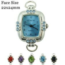Ladies Geneva Colored Stone With Matching Dial Beading Watch Faces 22x24mm