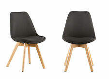 Set of 2 Modern Design PP Plastic Dinning Room Chair Side Chair with Wood Base