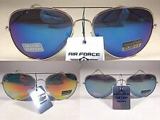 New Air Force Aviator Sunglasses Pale Gold Metal Frame Mirror Flash Lens Mens 56