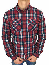 Superdry Mens Winter Washbasket L/S Chilled Red Check Shirt in Size XXL