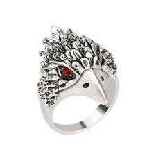 Vintage Punk Ring Silver Crystal Cute Animal Eagle Head Shaped Mens Finger Ring