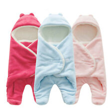 Newborn Baby Infant Fleece Swaddle Hooded Swaddling Blanket Wraps Sleeping Bag
