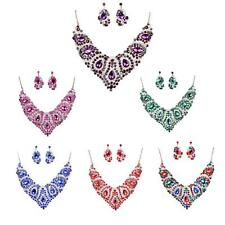 Women Bridal Statement Bib Pendant Chain Choker Necklace Earrings Jewelry Set