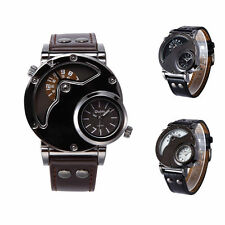 Mens Two Time Zone Quartz Analog Wrist Watch with Unique Dual Dial Design Gift