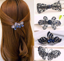 Women Vintage Rhinestone Butterfly Flower Hair Barrette Clip Hair Accessory