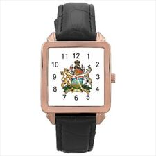 Alberta Canada Coat Of Arms Leather Strap Watches (Battery Included)