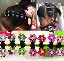 Rhinestone Flower Crystal Clamps Mini Sweet Hair Claws Girls 2016 6pcs Clips