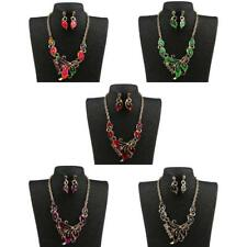 Gold Palted Crystal Statement Necklace Earring Set Wedding Enamel Jewelry Set
