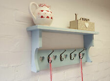 *Colour Choice* Shabby Chic Coat Rack Hooks Hanger Shelf Wooden Painted Hearts